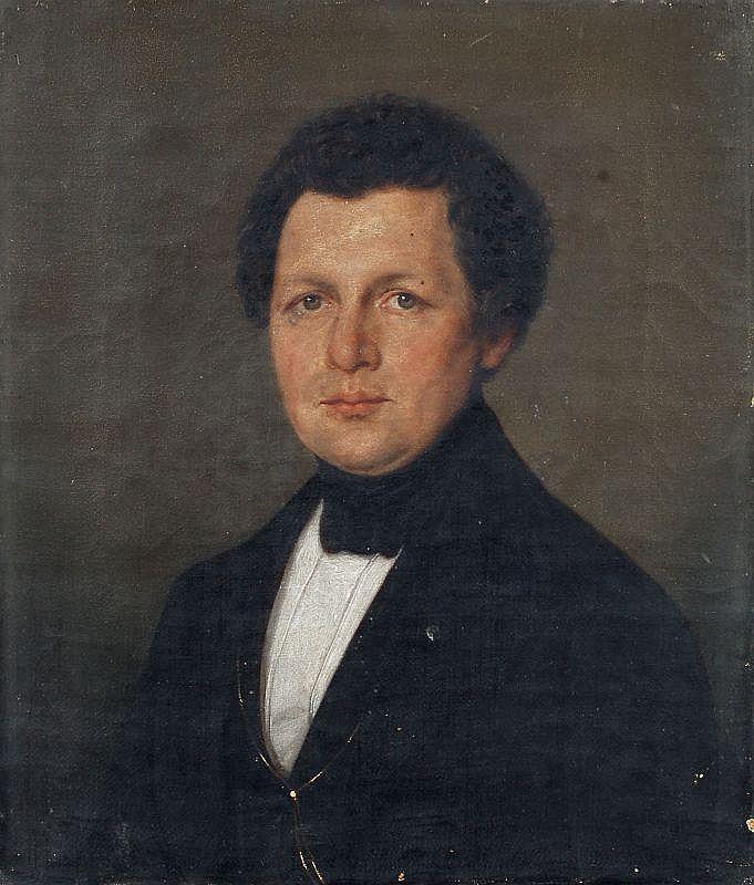 Unbekannter Künstler, Dreiteiliges Familienportrait. Wohl um 1825.