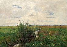 Paul Baum, Weite Wiesenlandschaft mit kleinem, schilfbewachsenen Bachlauf. 1889.