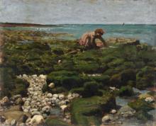 Pierre Billet, Kleine Krabbenfischerin am Strand von Yport (?), Normandie. 1875.