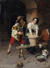 Giuseppe Galli, Galante Szene bei der Waescherin. Late 19th cent.