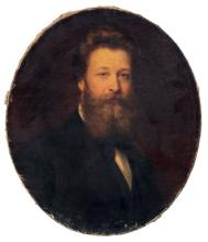 Julius Gustav Gruen, Bildnispaar eines baertigen Herrn / Unbekannter Kuenstler, Bildnis einer jungen Dame. 1872.
