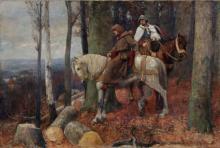 Georg Mueller-Breslau, Ritter und Moench zu Pferde auf einer waldigen Anhoehe mit Blick in ein Flusstal (Elbe?). 1893.