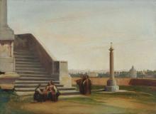 Heinrich Carl Reinhold (zugeschr.), Blick auf Santa Maria di Loreto in Rom. 1824.