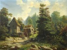 August Leberecht Oeser, Kleine Muehle im Grund (Saechsische Schweiz). Um 1860.