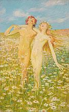 Max Pietschmann, Tanzendes Paar auf einer Sommerwiese. Early 20th cent.