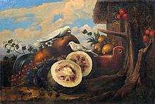 Julius Scheuerer (Umkreis?), Stillleben mit Fruechten und Taubenpaar. 19th cent.