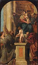 Paolo Veronese (Kopie nach), Madonna mit Kind und den Heiligen Joseph, Justina, Franziskus, Johannes dem Taeufer und Hieronymus. 2nd half 19th cent.
