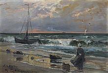 Karl Quarck, Fischerin am abendlichen Strand. 1905.