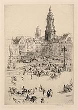Walter Zeising, Altmarkt Dresden (mit Siegesdenkmal). 1910.