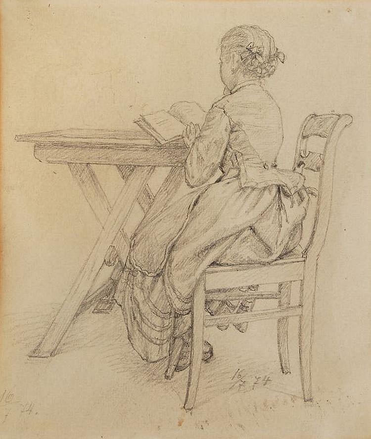 Hugo Bürkner(zugeschr.), Lesendes Mädchen am Tisch. 1874.