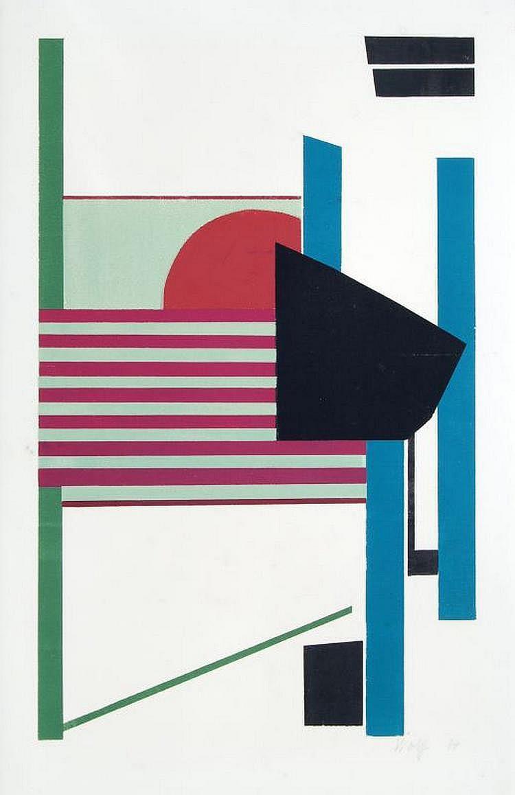 Willy Wolff, Komposition mit rotem Halbkreis. 1974.