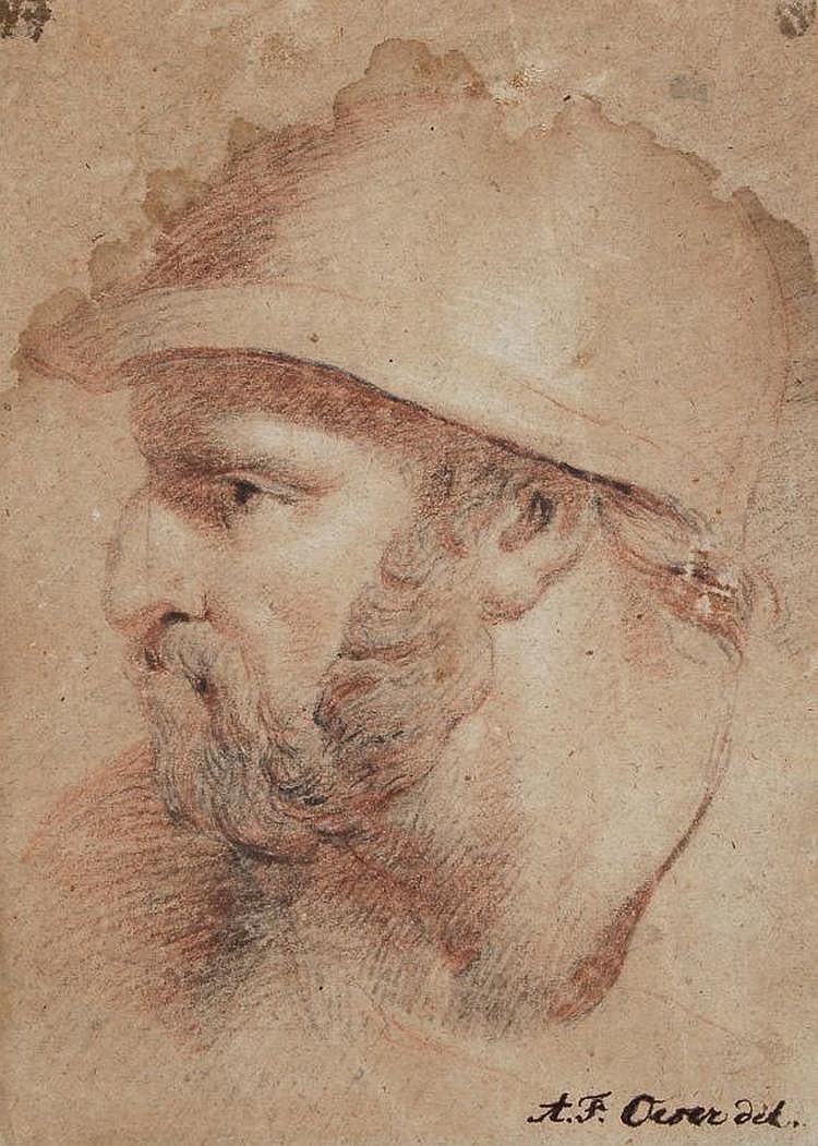 Adam Friedrich Oeser(zugeschr.), Kopf eines bärtigen Mannes. 2nd half 18th cent.