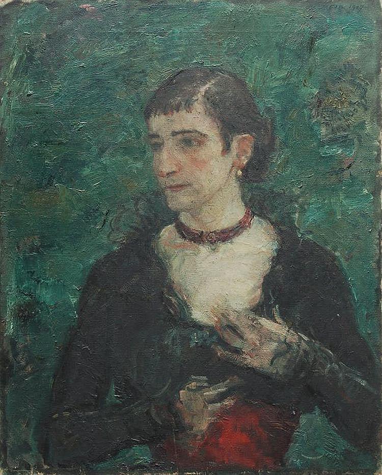 Hans Meid, Bildnis einer Dame mit rotem Collier. 1917.