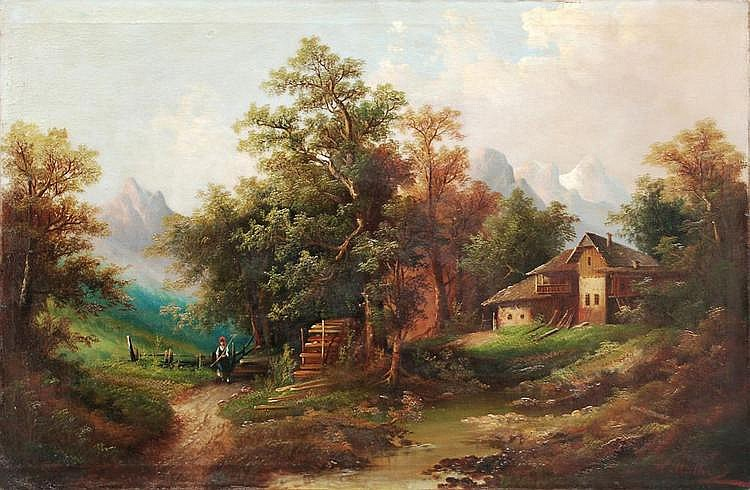 Heinrich Eduard Müller, Alpenhof mit Gebirgsbach. Um 1850.