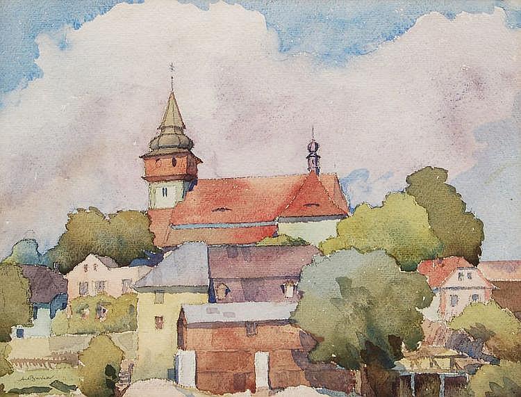 Antonín Burka, Böhmische Stadtansicht. No date.
