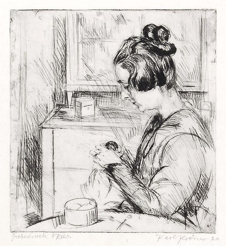 Karl Kröner, Bei der Nadelarbeit / Schlafende / Sitzende Dame nach rechts. 1914/ 1920.