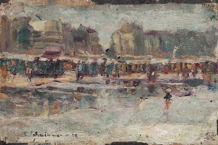 Max Schwimmer, Regnerischer Marktplatz. Wohl 1922.