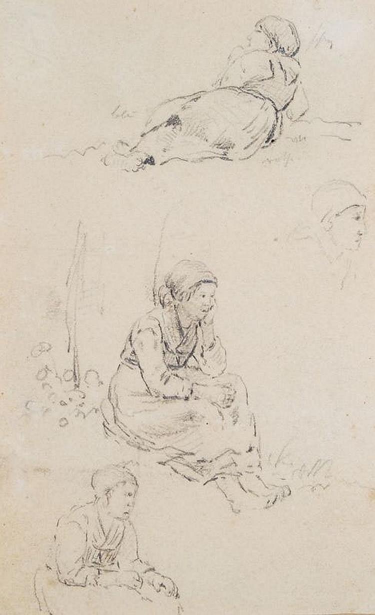 Edward Young, Studien einer sitzenden Bäuerin. Mid 19th cent.