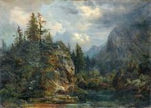 Bernhard Mühlig, Alpenlandschaft mit erlegtem Wild (Wettersteingebirge?). 1858.