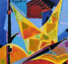 Hermann Naumann, Maritime Komposition mit gelben Segeln. 2010.