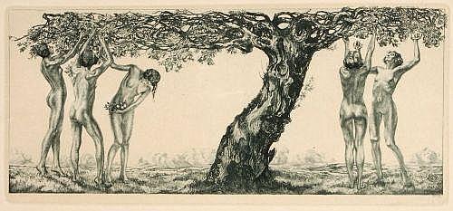 Alois Kolb, Weibliche Akte unter einem Apfelbaum. Um 1900.