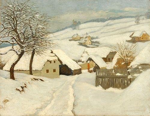 Friedrich Wilhelm Graf Bülow von Dennewitz, Kleines Dorf im Winter. Um 1910.