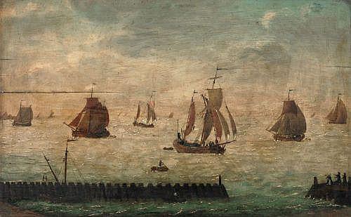Unbekannter Künstler, Segelschiffe vor einer Hafenmole. Spätes 17./ 18th cent.