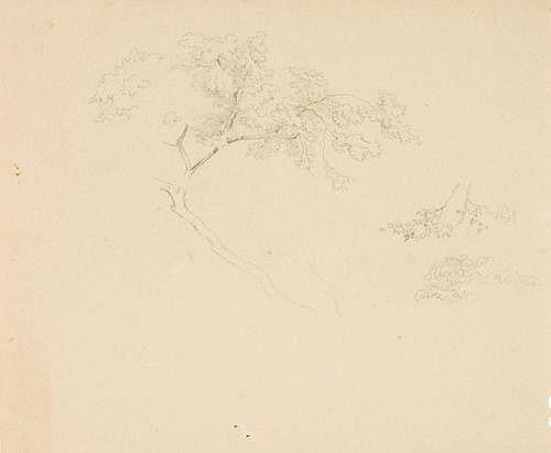 Carl Gottlieb Peschel (zugeschr.) , Vier Landschafts- und Figurenstudien. Mid 19th cent.