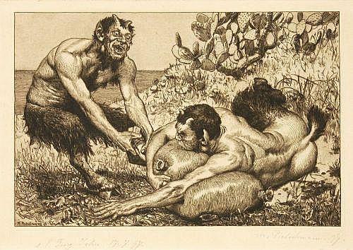 Max Pietschmann, Zwei Satyrn kämpfen um den Weinschlauch. 1897.