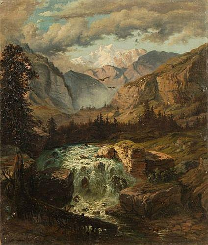 Unbekannter Künstler, Wasserfall im Gebirge. Mid 19th cent.