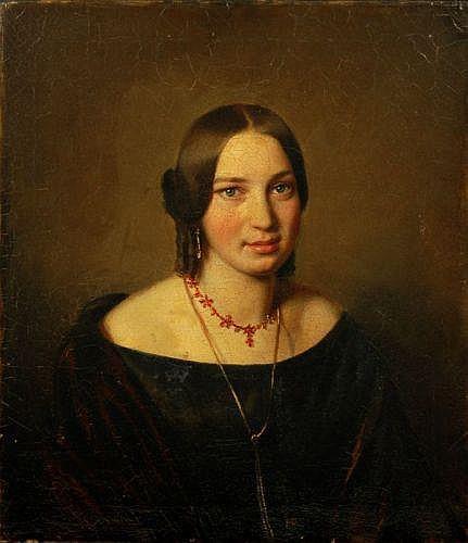 Unbekannter Künstler, Junge Dame mit Granatschmuck. 1st half 19th cent.