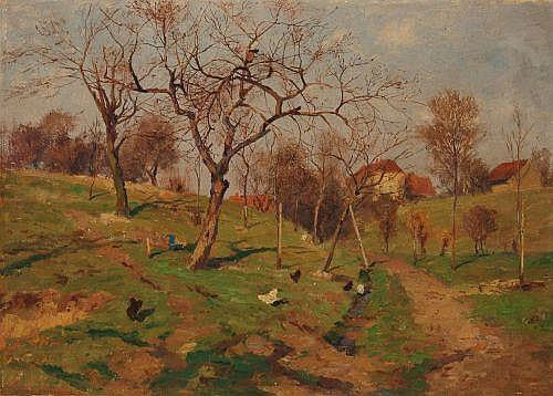 Gustav Adolf Thamm (zugeschr.), Dorflandschaft. Late 19th cent.