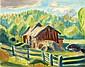 Kurt Schütze, Schwedische Landschaft mit roten Holzhütten und blauem Holzzaun. Wohl 1950's.