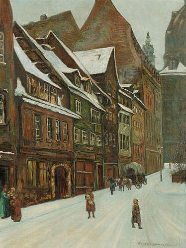 Franz Krowacek, Gasse zur Dresdner Frauenkirche. Early 20th cent.