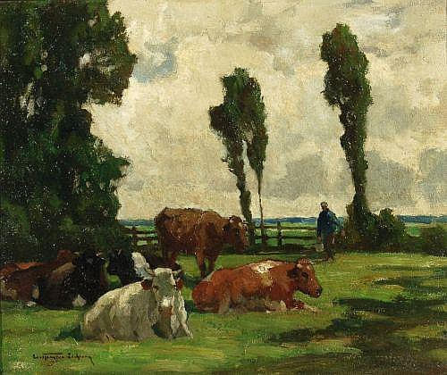 Carl Kayser-Eichberg, Bauer mit seinen Rindern. Um 1940.