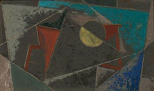Erhard Hippold, Komposition mit hellblauem Dreieck . 1970.