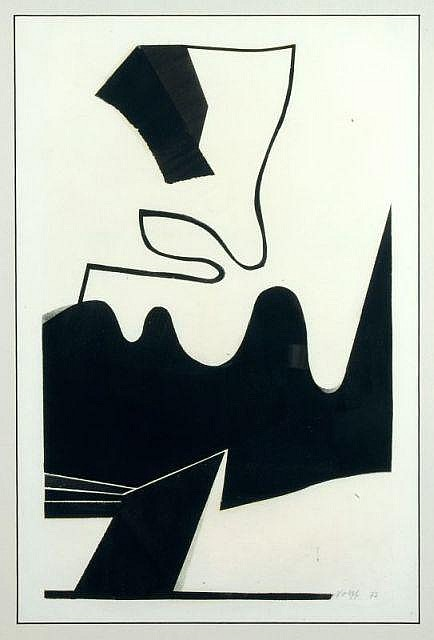 Willy Wolff, Schwarze Formen auf weißem Grund. 1973.