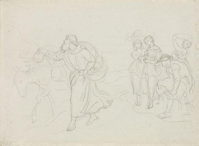 Carl Gottlieb Peschel(zugeschr.), Wandernde Landleute mit Esel (Szene aus dem Alten Testament). Mid 19th cent.