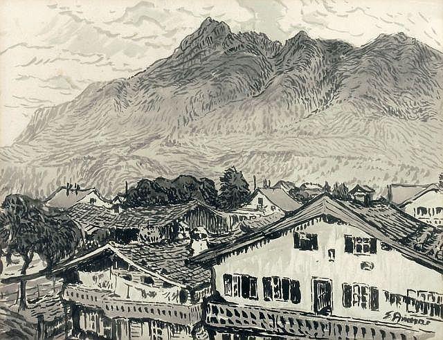 Elisabeth Andrae, Alpendorf. Um 1900.