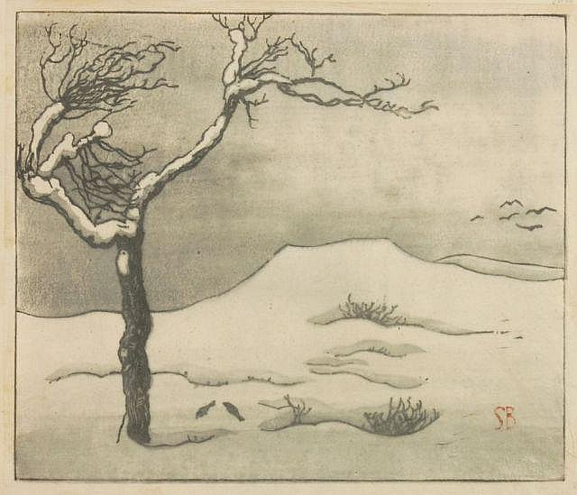 Siegfried Berndt, Winterlandschaft mit Baum. 1st half 20th cent.