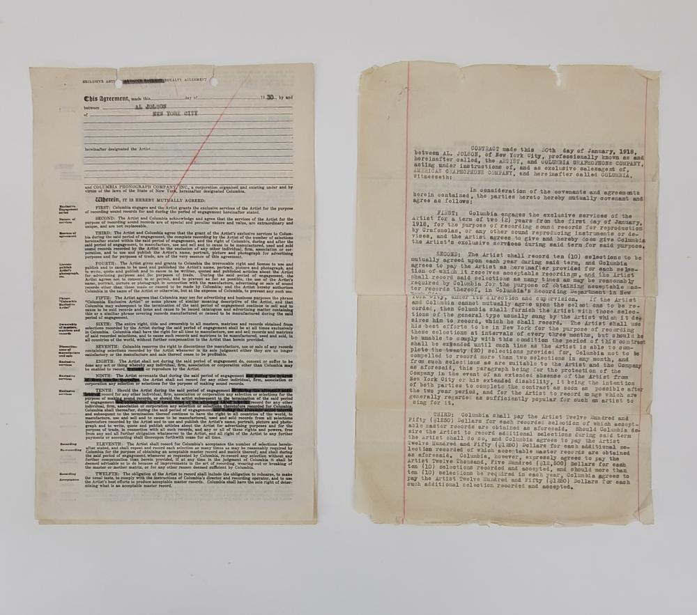 Al Jolson | Two Contracts with Columbia (signed)