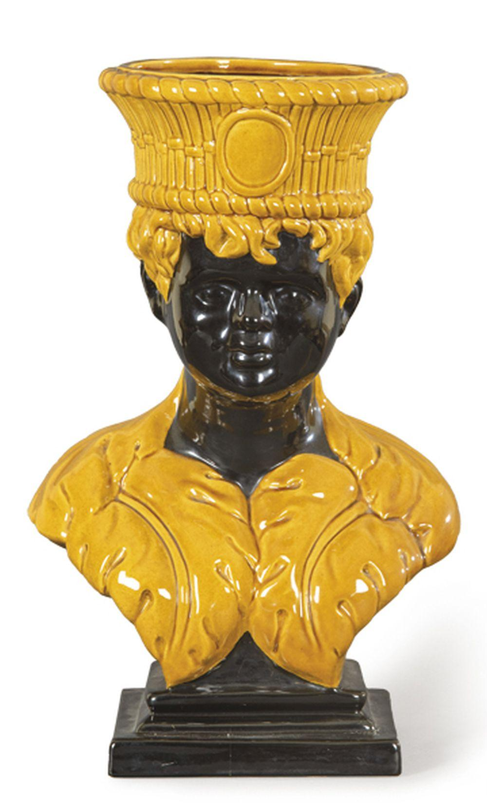 """Vase in the form of a torso """"Blackamoor"""" in glazed and painted ceramic from"""