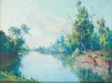 JOSE VENTOSA DOMENECH Palma de Mallorca 1897-1982 The river. 1942 Oil on canvas
