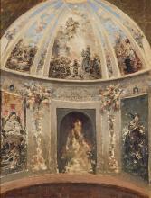 EUGENIO OLIVA RODRIGO - Sketch of the chapel of Carlos III in San Francisco el Grande, Madrid
