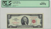 1963 $2 PCGS Gem New 66PPQ Legal Tender Note