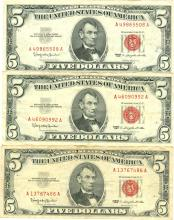 1963 $5 VG/XF Red Seal Note Lot of 3