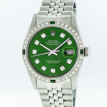 Rolex Stainless Steel Green Diamond and Emerald DateJust Men's Watch