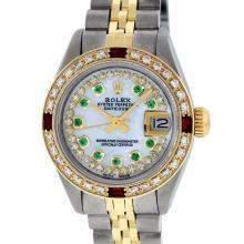 Rolex Ladies 2T MOP Emerald String Diamond And Ruby Datejust Wristwatch