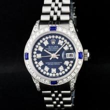 Rolex Stainless Steel Blue String Diamond VVS DateJust Watch