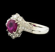 1.13 ctw Ruby and Diamond Ring - Platinum